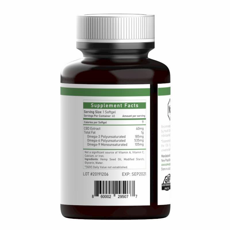 Vegan CBD capsules supplement panel